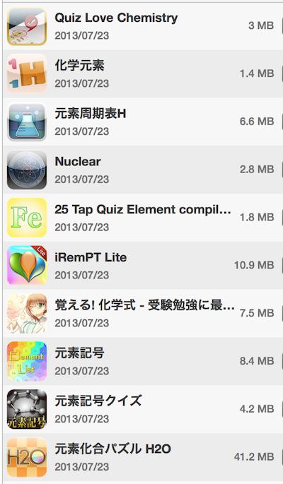 化学ででてくる周期律表は「元素」で検索 iPhone, iPad,アプリ紹介