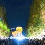 明治神宮の外苑,紅葉,銀杏並木,ライトアップ2018