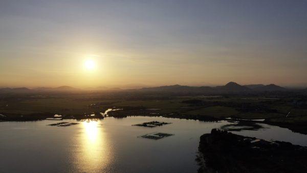 早朝の琵琶湖【絶景めぐり】滋賀県,空撮,ドローン