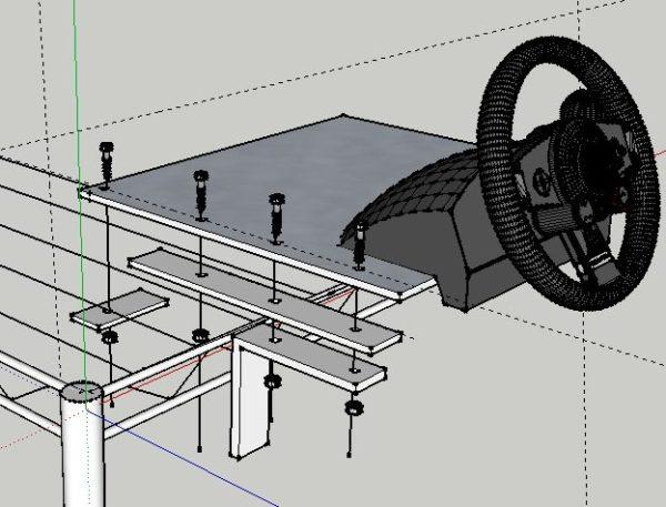 【自作】グランツーリスモのハンドルをスチールラックに固定する