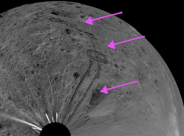 【月の裏側】この直線は何? 長さ2000km以上、幅10kmぐらい?
